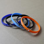 Slim silicone bracelets (6mm wide) with custom text image